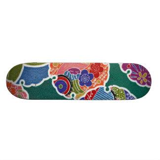 Materia textil japonesa del KIMONO, modelo del flo Skate Board