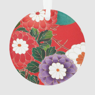 Materia textil japonesa del vintage - dalias rojas