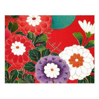 Materia textil japonesa del vintage - dalias rojas postales