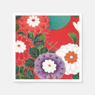 Materia textil japonesa del vintage - dalias rojas servilletas de papel