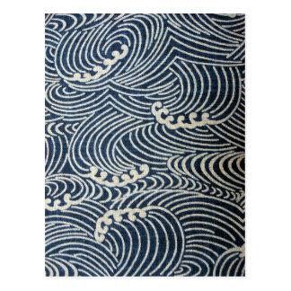 Materia textil japonesa del vintage, modelo de tarjetas postales
