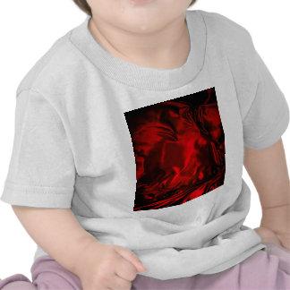 materia textil roja flamming del estilo del café d camiseta