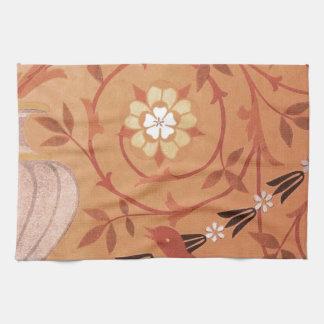 Materia textil rosada de la vid y del florero toalla de cocina
