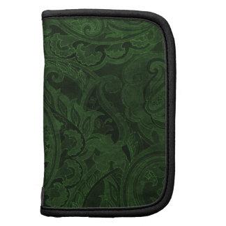Materia textil verde oscuro de Paisley del vintage Planificador