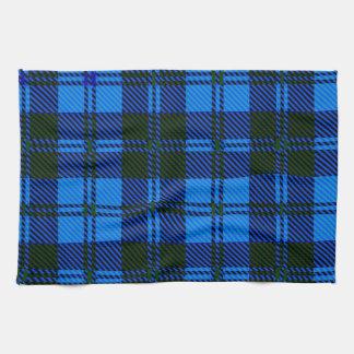 Material azul de las lanas del tartán toalla de cocina