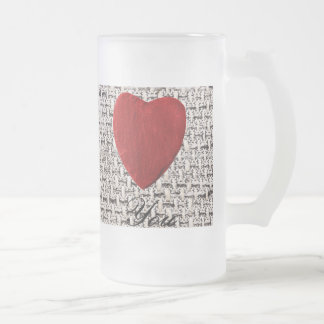 Material background Love you Frosted Glass Beer Mug