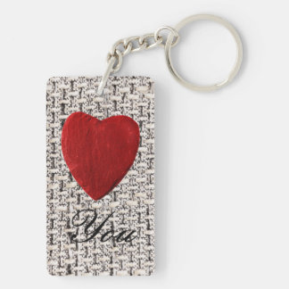 Material background Love you Keychain