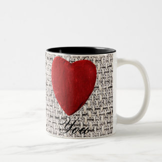 Material background Love you Two-Tone Coffee Mug