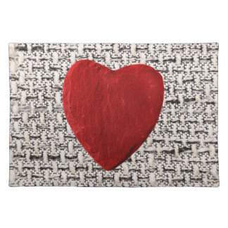Material background with heart cloth placemat