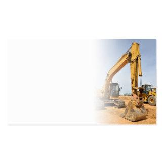 material de construcción de la retroexcavadora tarjetas de visita