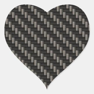 Material de la fibra de carbono pegatina en forma de corazón