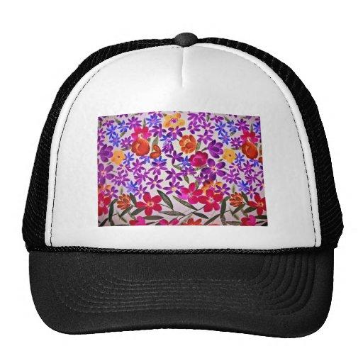 Material floral del paño gorros bordados
