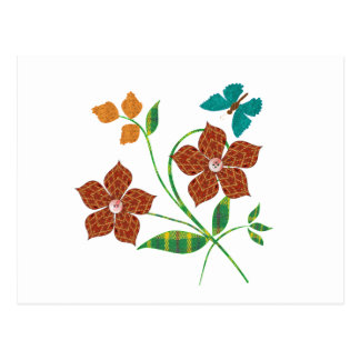 Material Flowers Postcard