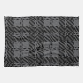 Material gris de las lanas del tartán del control toalla de cocina