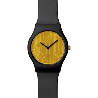 Material informático abstracto reloj de mano