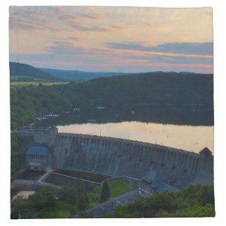 Material napkins Edersee concrete dam sunset