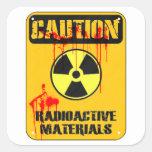 Material radioactivo de la precaución calcomanía cuadrada personalizada