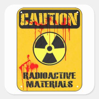 Material radioactivo de la precaución calcomania cuadradas