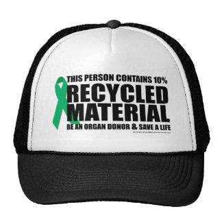 Material reciclado donante de órganos gorras de camionero