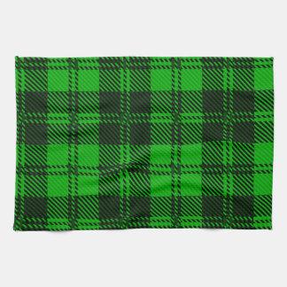 Material verde de las lanas del tartán toalla de cocina