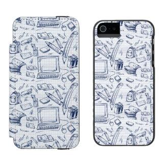 Materiales de oficina artsy funda billetera para iPhone 5 watson