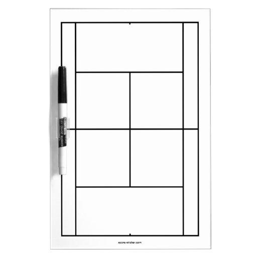 Materiales del campo de tenis para las lecciones e pizarra blanca