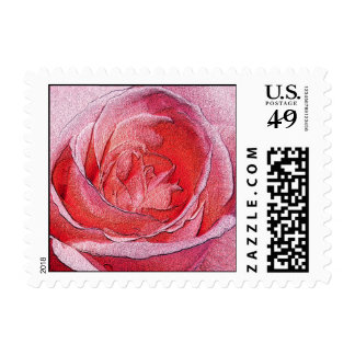 Materialized red rose - Size S Horizontal Stamps