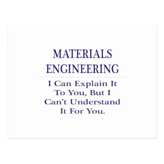 Materials Engineering  .. Explain Not Understand Postcard