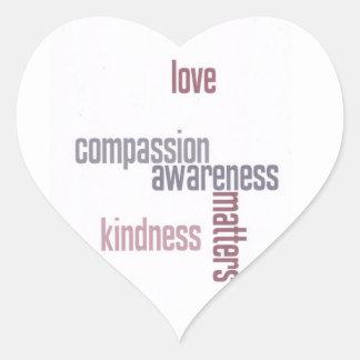 Materias de la amabilidad pegatina en forma de corazón