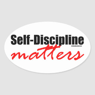Materias de la autodisciplina pegatina ovalada