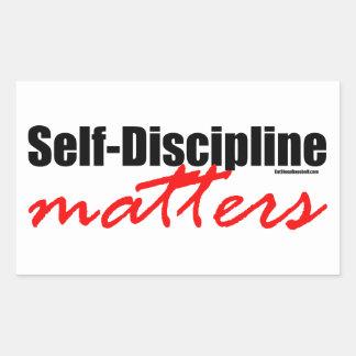 Materias de la autodisciplina pegatina rectangular