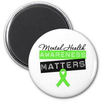 Materias de la conciencia de la salud mental imán redondo 5 cm