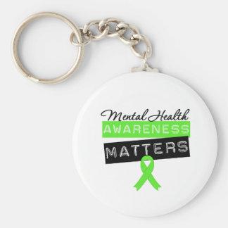 Materias de la conciencia de la salud mental llavero redondo tipo pin