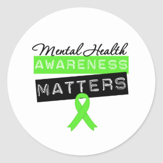 Materias de la conciencia de la salud mental etiqueta redonda