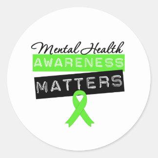 Materias de la conciencia de la salud mental pegatina redonda