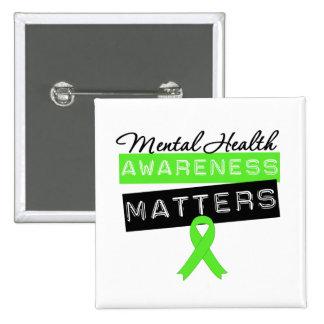 Materias de la conciencia de la salud mental pin cuadrada 5 cm