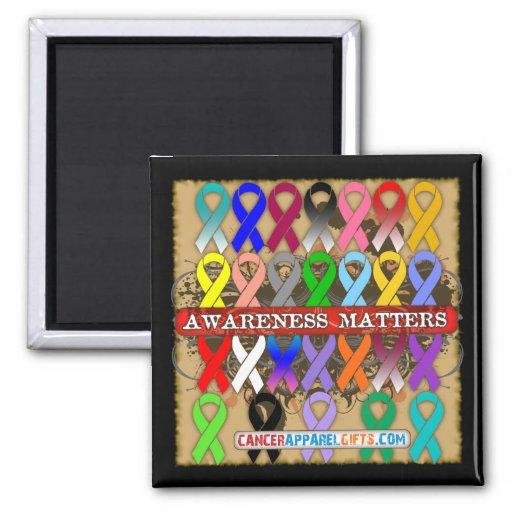 Materias de la conciencia del cáncer - cintas de imán cuadrado