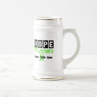 Materias de la esperanza de la conciencia del linf jarra de cerveza