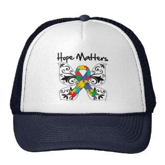 Materias de la esperanza del autismo gorras de camionero