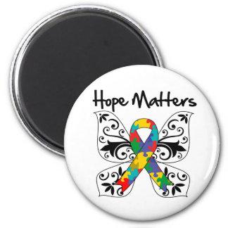 Materias de la esperanza del autismo imán redondo 5 cm