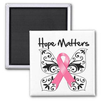 Materias de la esperanza del cáncer de pecho imán cuadrado