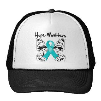 Materias de la esperanza del cáncer ovárico gorros
