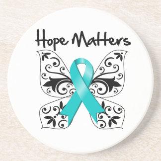 Materias de la esperanza del cáncer ovárico posavasos manualidades