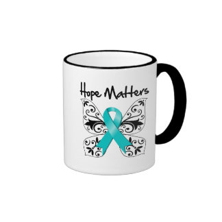 Materias de la esperanza del cáncer ovárico tazas de café