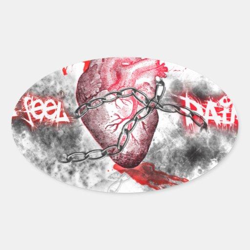 Materias del corazón pegatina ovalada