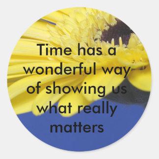 Materias del tiempo pegatina redonda