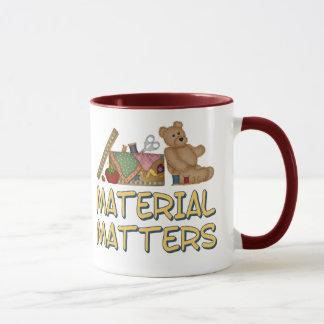 Materias materiales que cosen humor taza