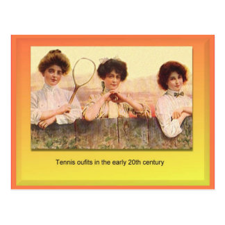Materias textiles, moda, equipos del tenis, centav postales
