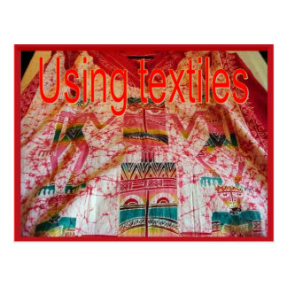 Materias textiles, moda, usando las materias texti postal