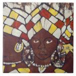 Materias textiles pintadas a mano que representan  teja